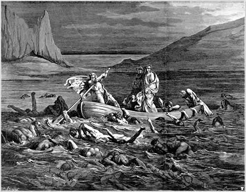 Charon rowing across River Styx