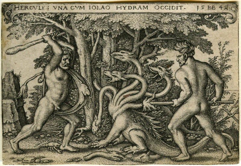 Hercules battles Hydra