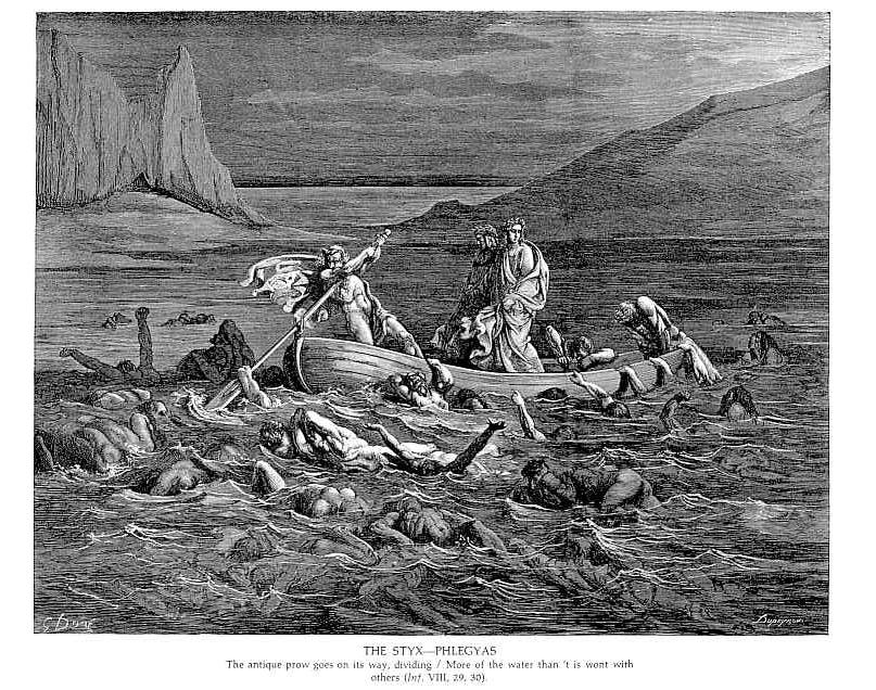 Charon rowing across Styx