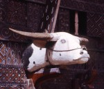 Home decoration with carved wooden bull
